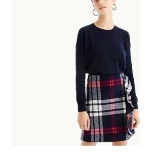 J. Crew Plaid ruffle skirt in double-serge wool